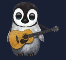 Musical Baby Penguin Playing Guitar Red Kids Clothes