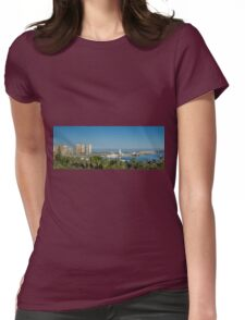 Panorama of Malaga port Womens Fitted T-Shirt