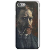 Vincent Van Gogh - Self Portrait With Pipe, 1886 iPhone Case/Skin