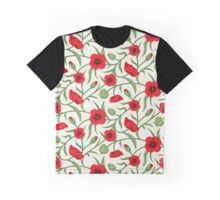 Red & Green Flowers Seamless Pattern Graphic T-Shirt