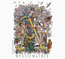"""MYSTICMATRIX The Illustrated Alphabet Capital  A  """"Getting personal""""  One Piece - Short Sleeve"""