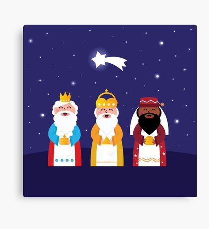 Caspar, Melchior and Balthazar follow the star of Bethlehem. Vector Illustration Canvas Print