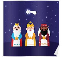 Caspar, Melchior and Balthazar follow the star of Bethlehem. Vector Illustration Poster