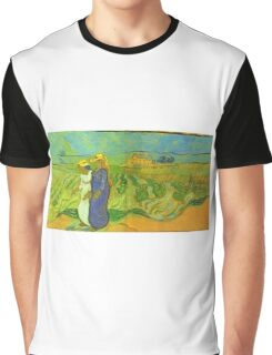 Vincent Van Gogh - Two Women Crossing  Fields, 1890 Graphic T-Shirt
