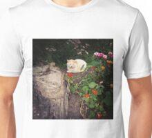 Sleeping Cat In A Flower Bed Unisex T-Shirt