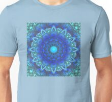 Blues  Watercolor Flower Mandala Unisex T-Shirt