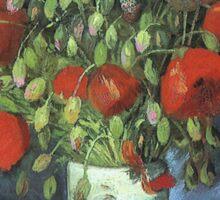 Vincent Van Gogh - Vase With Red Poppies, 1886 Sticker