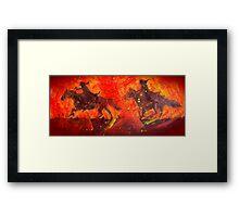 Riders In Black Framed Print