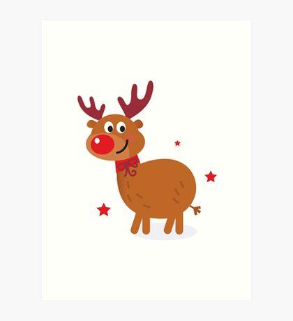 Christmas red nose reindeer Art Print