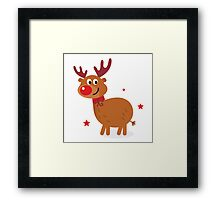 Christmas red nose reindeer Framed Print