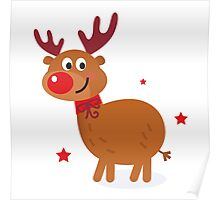 Christmas red nose reindeer Poster