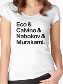 Eco & Calvino & Nabokov & Murakami (HELVETICA TYPE - Custom Order) Women's Fitted Scoop T-Shirt