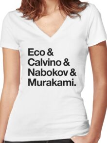 Eco & Calvino & Nabokov & Murakami (HELVETICA TYPE - Custom Order) Women's Fitted V-Neck T-Shirt