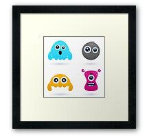Cute monster or germs characters collection Framed Print