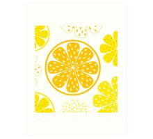Light and fresh yellow lemon pattern or texture Art Print