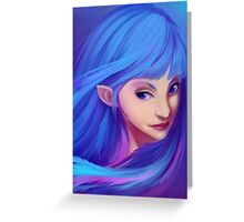 Blue Feather Elf Greeting Card
