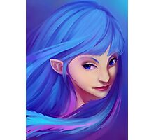Blue Feather Elf Photographic Print