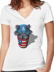 Cat-tin America Women's Fitted V-Neck T-Shirt