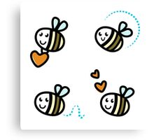 Funny Bee collection. Retro Illustration. Canvas Print