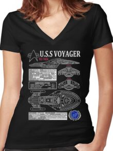 U.S.S VOYAGER NCC74656 Women's Fitted V-Neck T-Shirt