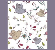 Cute little birds in flight with bright colourful flowers and leaves, a fun pretty repeating illustration on white, classic statement fashion clothing, soft furnishings and home decor  Kids Tee