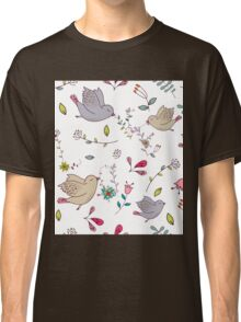 Cute little birds in flight with bright colourful flowers and leaves, a fun pretty repeating illustration on white, classic statement fashion clothing, soft furnishings and home decor  Classic T-Shirt