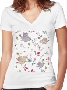 Cute little birds in flight with bright colourful flowers and leaves, a fun pretty repeating illustration on white, classic statement fashion clothing, soft furnishings and home decor  Women's Fitted V-Neck T-Shirt