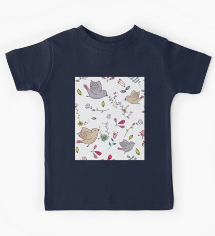 Sweet little birds in flight with bright colourful flowers and leaves, a fun pretty repeating illustration on white, classic statement fashion clothing, soft furnishings and home decor  Kids Tee