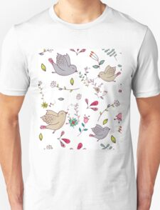 Sweet little birds in flight with bright colourful flowers and leaves, a fun pretty repeating illustration on white, classic statement fashion clothing, soft furnishings and home decor  Unisex T-Shirt