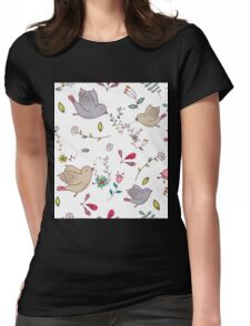 Sweet little birds in flight with bright colourful flowers and leaves, a fun pretty repeating illustration on white, classic statement fashion clothing, soft furnishings and home decor  Womens Fitted T-Shirt