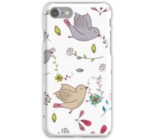 Sweet little birds in flight with bright colourful flowers and leaves, a fun pretty repeating illustration on white, classic statement fashion clothing, soft furnishings and home decor  iPhone Case/Skin