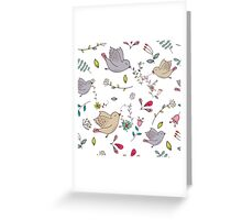 Sweet little birds in flight with bright colourful flowers and leaves, a fun pretty repeating illustration on white, classic statement fashion clothing, soft furnishings and home decor  Greeting Card