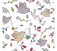 Cute little birds in flight with bright colourful flowers and leaves, a fun pretty repeating illustration on white, classic statement fashion clothing, soft furnishings and home decor  Photographic Print