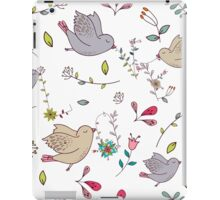 Cute little birds in flight with bright colourful flowers and leaves, a fun pretty repeating illustration on white, classic statement fashion clothing, soft furnishings and home decor  iPad Case/Skin