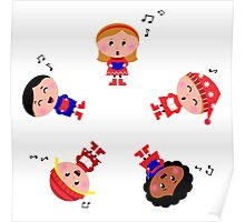 Cute christmas kids singing and caroling Poster