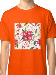 Pretty pink flowers pen and ink drawing, cottage style repeating design, white background, classic statement fashion clothing, soft furnishings and home decor  Classic T-Shirt