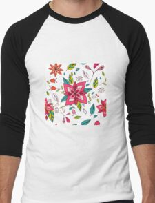 Pretty pink flowers pen and ink drawing, cottage style repeating design, white background, classic statement fashion clothing, soft furnishings and home decor  Men's Baseball ¾ T-Shirt