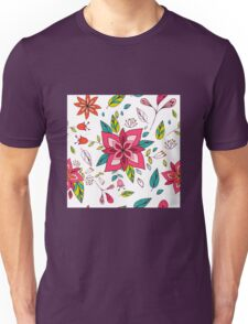 Pretty pink flowers pen and ink drawing, cottage style repeating design, white background, classic statement fashion clothing, soft furnishings and home decor  Unisex T-Shirt