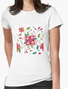Pretty pink flowers pen and ink drawing, cottage style repeating design, white background, classic statement fashion clothing, soft furnishings and home decor  Womens Fitted T-Shirt