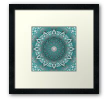 Turquoise Flower Mandala Framed Print