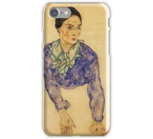Egon Schiele - Portrait Of A Woman With Blue And Green Scarf 1914 iPhone Case/Skin