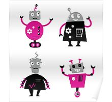 Cute cartoon robot characters Poster