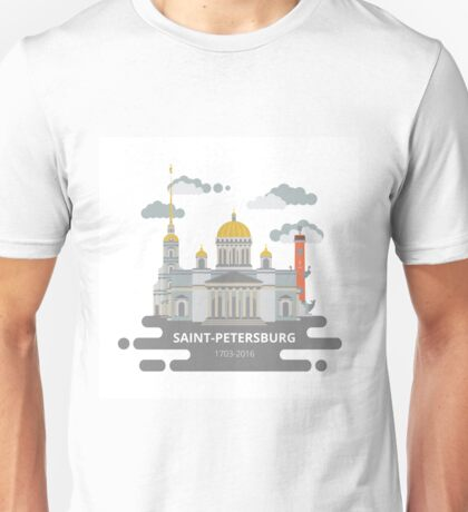 Saint-Petersburg flat cityscape. Unisex T-Shirt