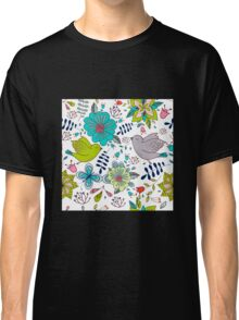 Birds with flowers, a cute line drawing with pretty pattern in turquoise blue and lime green on a white background, classic statement fashion clothing, soft furnishings and home decor  Classic T-Shirt