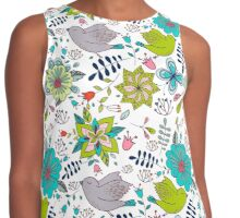 Sweet birds with flowers, a cute line drawing with pretty pattern in turquoise blue and lime green on a white background, classic statement fashion clothing, soft furnishings and home decor  Contrast Tank