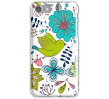 Sweet birds with flowers, a cute line drawing with pretty pattern in turquoise blue and lime green on a white background, classic statement fashion clothing, soft furnishings and home decor  iPhone Case/Skin