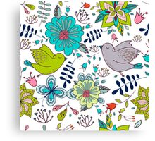 Sweet birds with flowers, a cute line drawing with pretty pattern in turquoise blue and lime green on a white background, classic statement fashion clothing, soft furnishings and home decor  Canvas Print