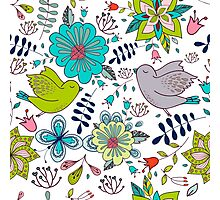 Birds with flowers, a cute line drawing with pretty pattern in turquoise blue and lime green on a white background, classic statement fashion clothing, soft furnishings and home decor  Photographic Print
