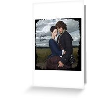 Outlander/Jamie & Claire in grunge frame. Greeting Card