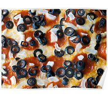 Pepperoni Pizza with Mushrooms and Onions Poster